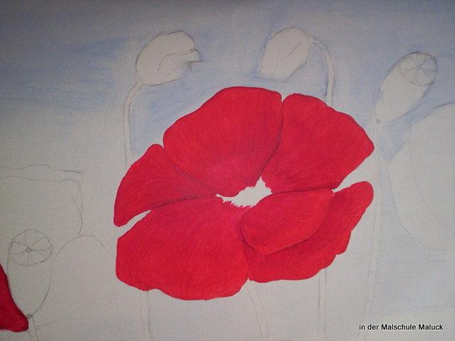 03 Ein Mohnbild in Acrylfarbe entsteht in der Malschule Maluck
