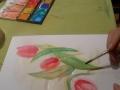 Tulpen werden fertiggestellt von Christina, in der Malschule Maluck