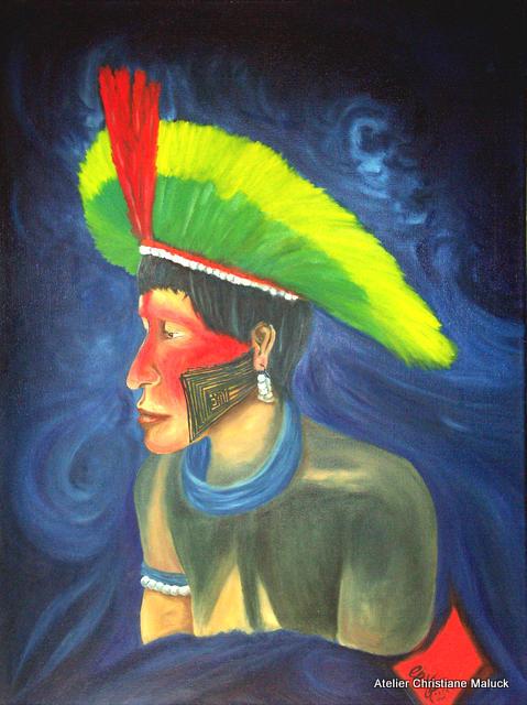 Kaipomann, die Bemalung gehört zu den Komplexsten der Indianer, Öl 60x70 cm