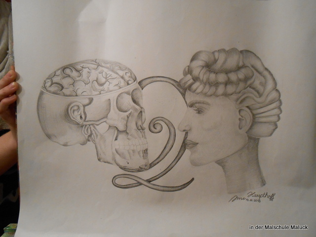 Bleistiftzeichnung von Anne, in der Malschule Maluck